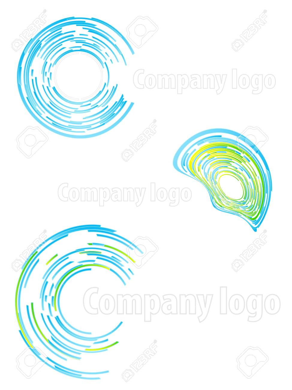 Vector illustration of three highly detailed abstract company logos. Stock Photo - 3256876