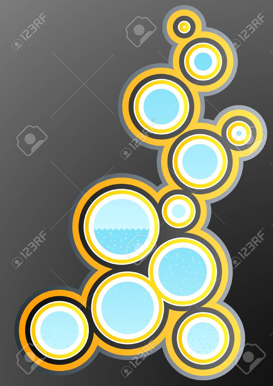 Vector illustration of a funky retro design element with circle art filled with water and bubbles. Stock Vector - 3351145