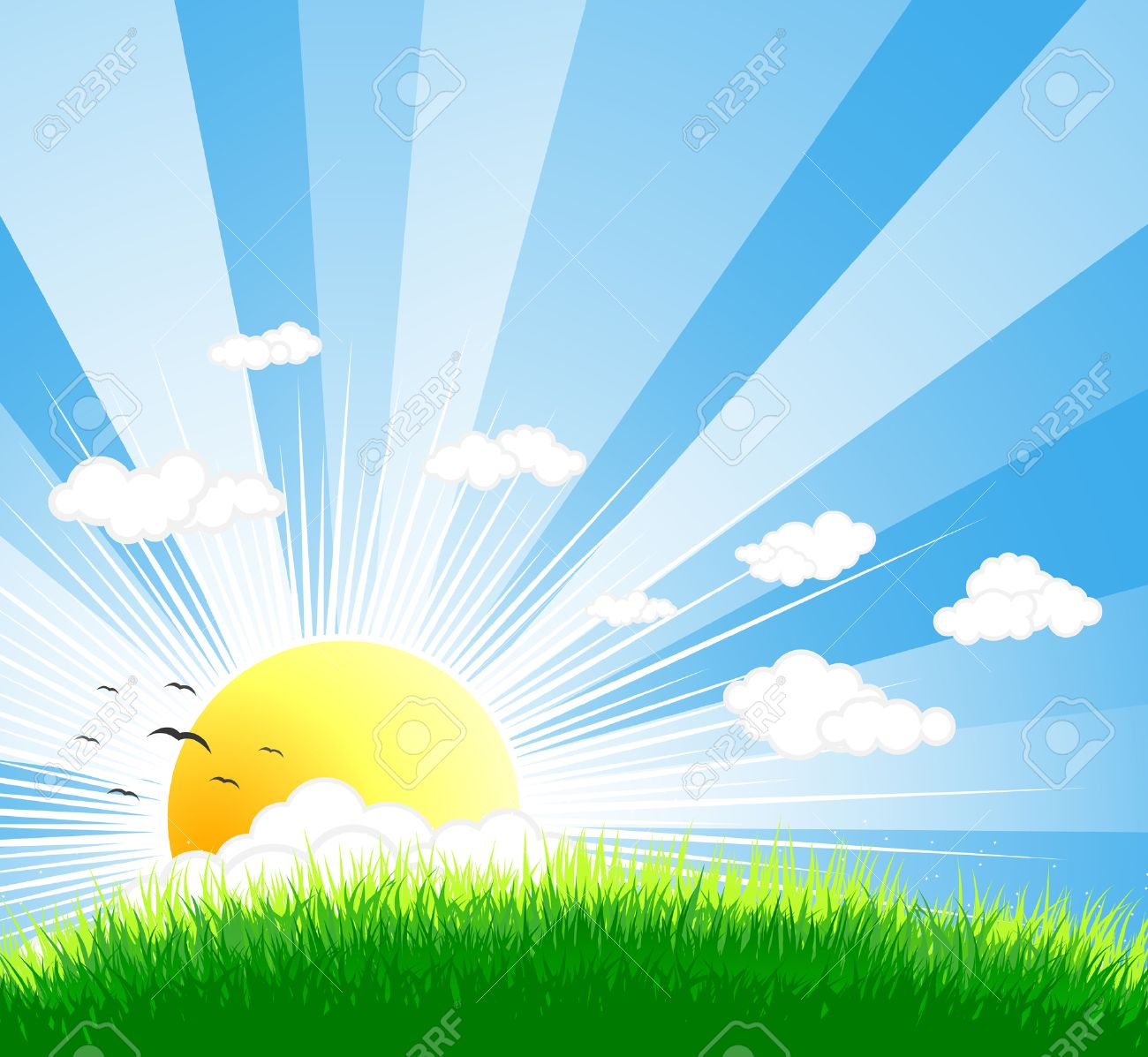 Vector illustration of an idyllic sunny nature background with a blue gradient stripes sky, birds, green grass layers of grass and sky. - 3373276