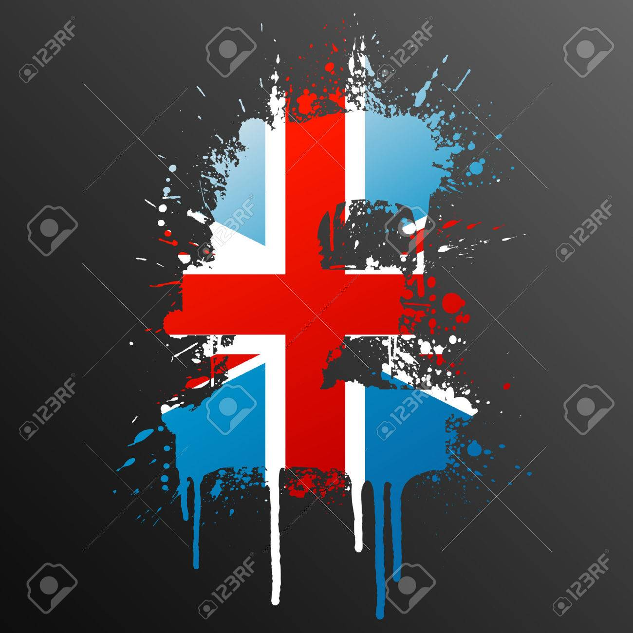 Vector illustration of a conceptual ink splatter in the shape of the United Kingdom Pound currency symbol. - 3373267
