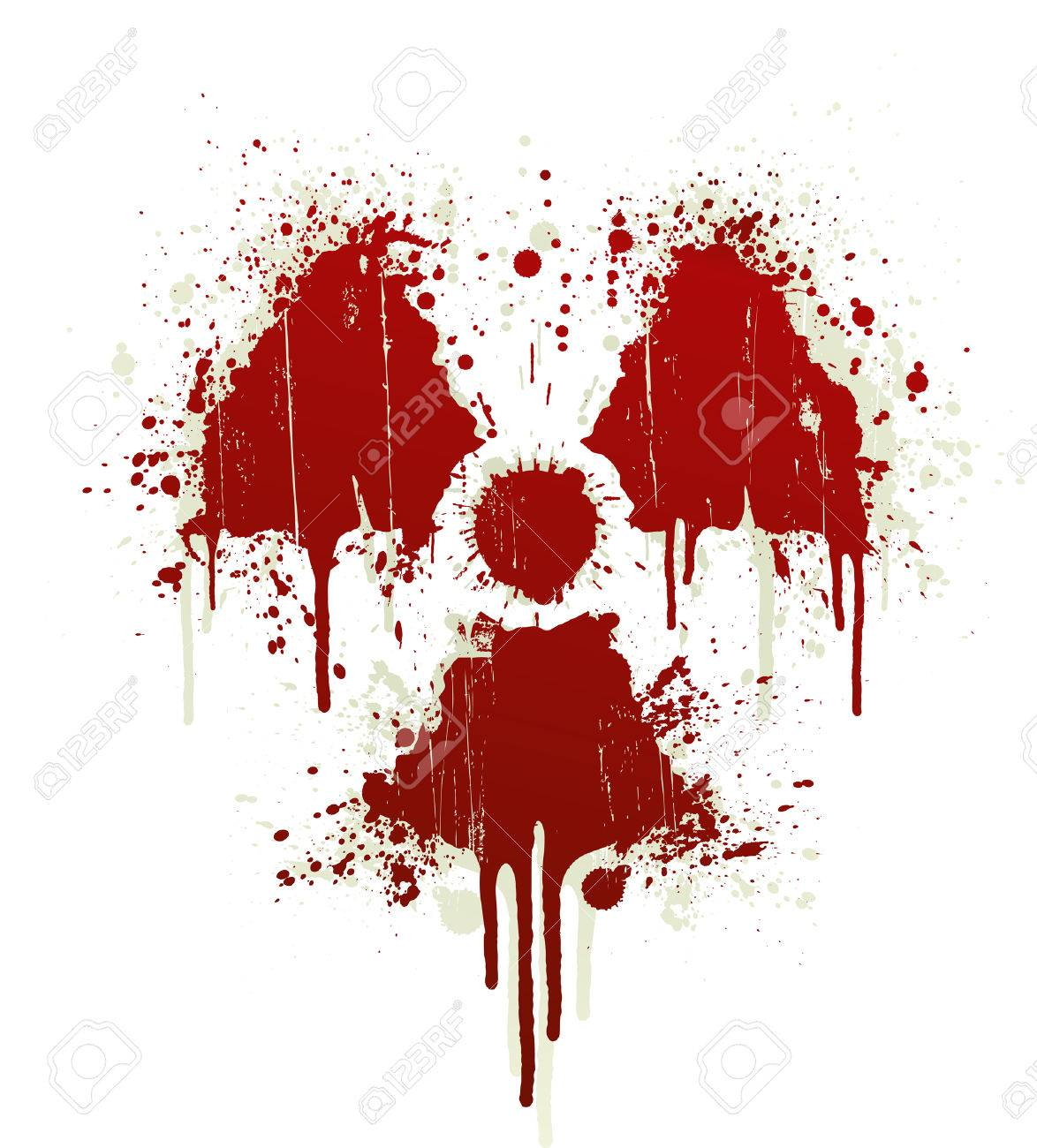 Vector illustration of a blood splatter design element in the shape of the radioactive symbol. Shadow on separate layer. - 3373295