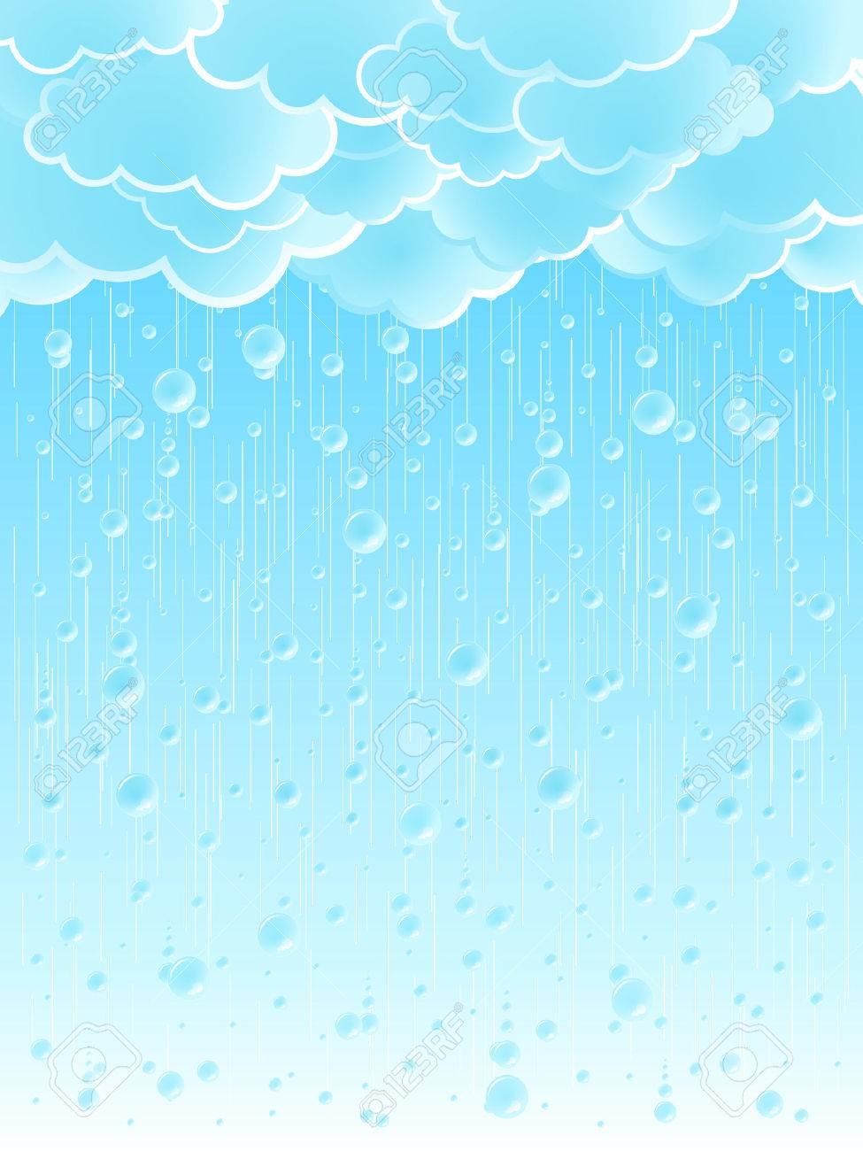 美しい光夏シャワー雨背景のベクトル イラスト。 ロイヤリティフリー