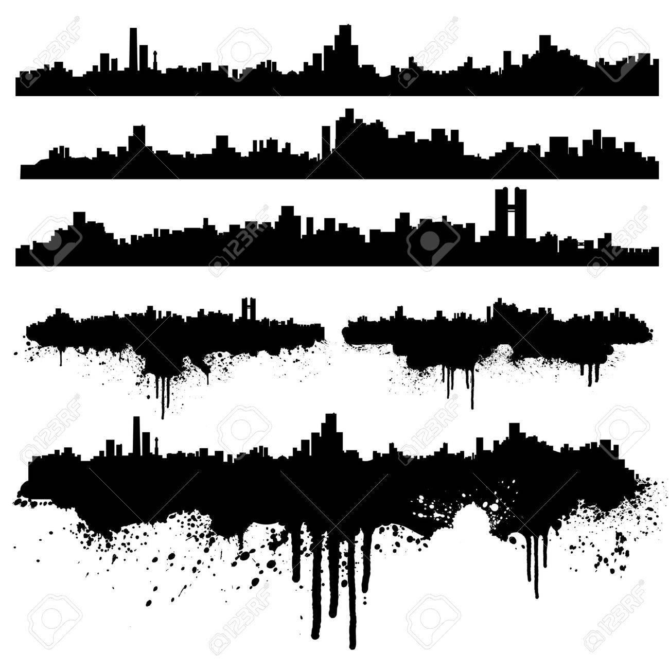Vector illustration of six urban skylines, clean and splatter versions. Ink splashes highly detailed. Stock Vector - 3373292