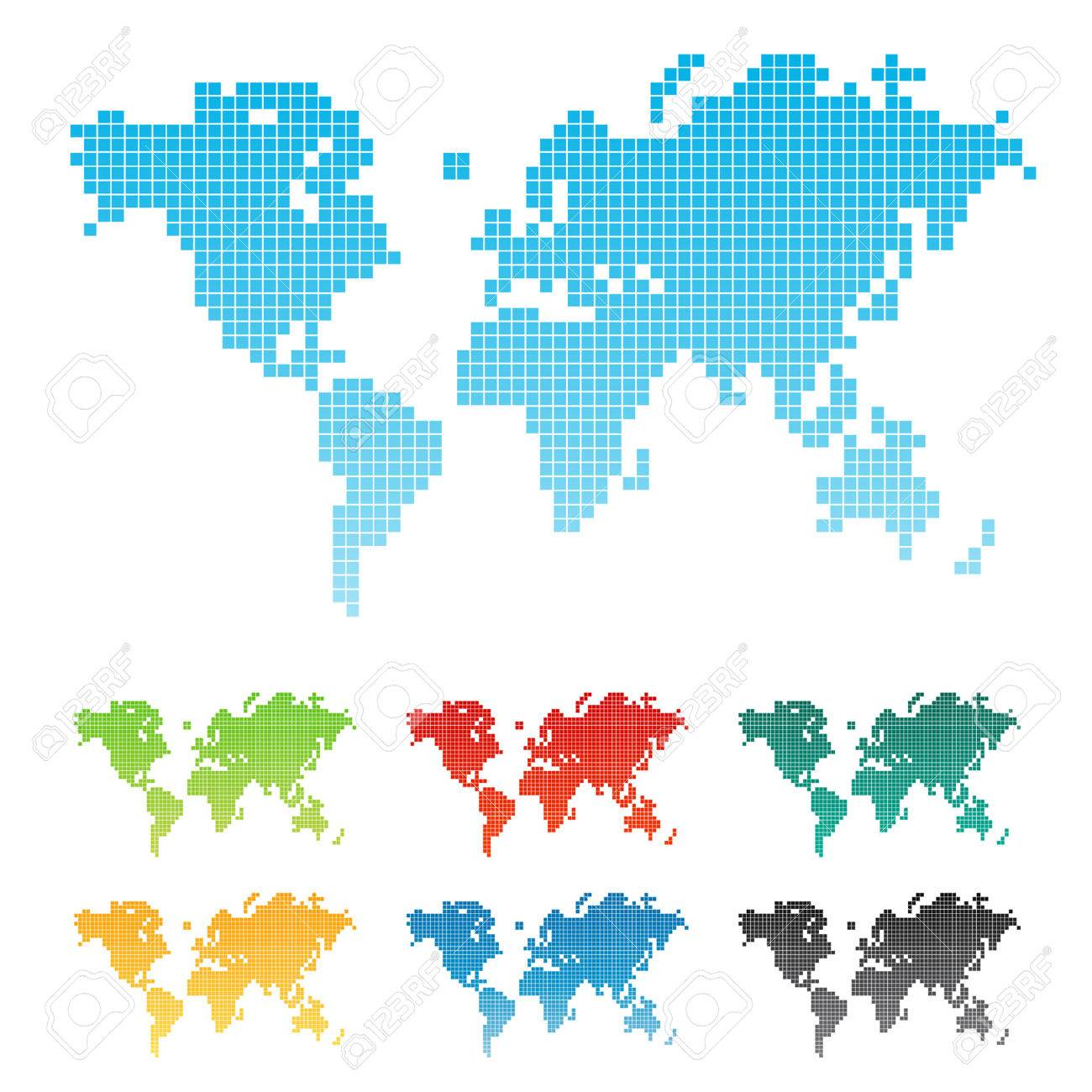 Vector illustration of a world map made of squares pixels. Seven different color variations. Isolated. - 3391778