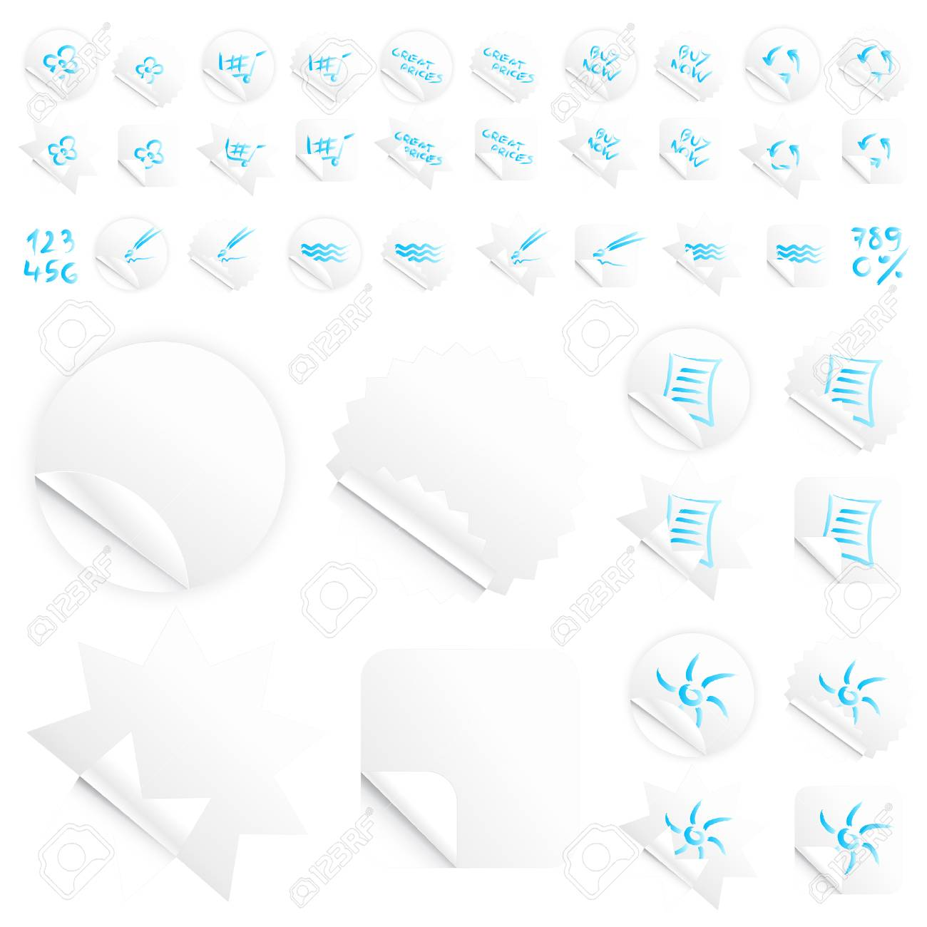 Vector illustrations of four different modern glossy shiny stickers or tags. Various custom themes. Blue writing. Stock Vector - 3391775