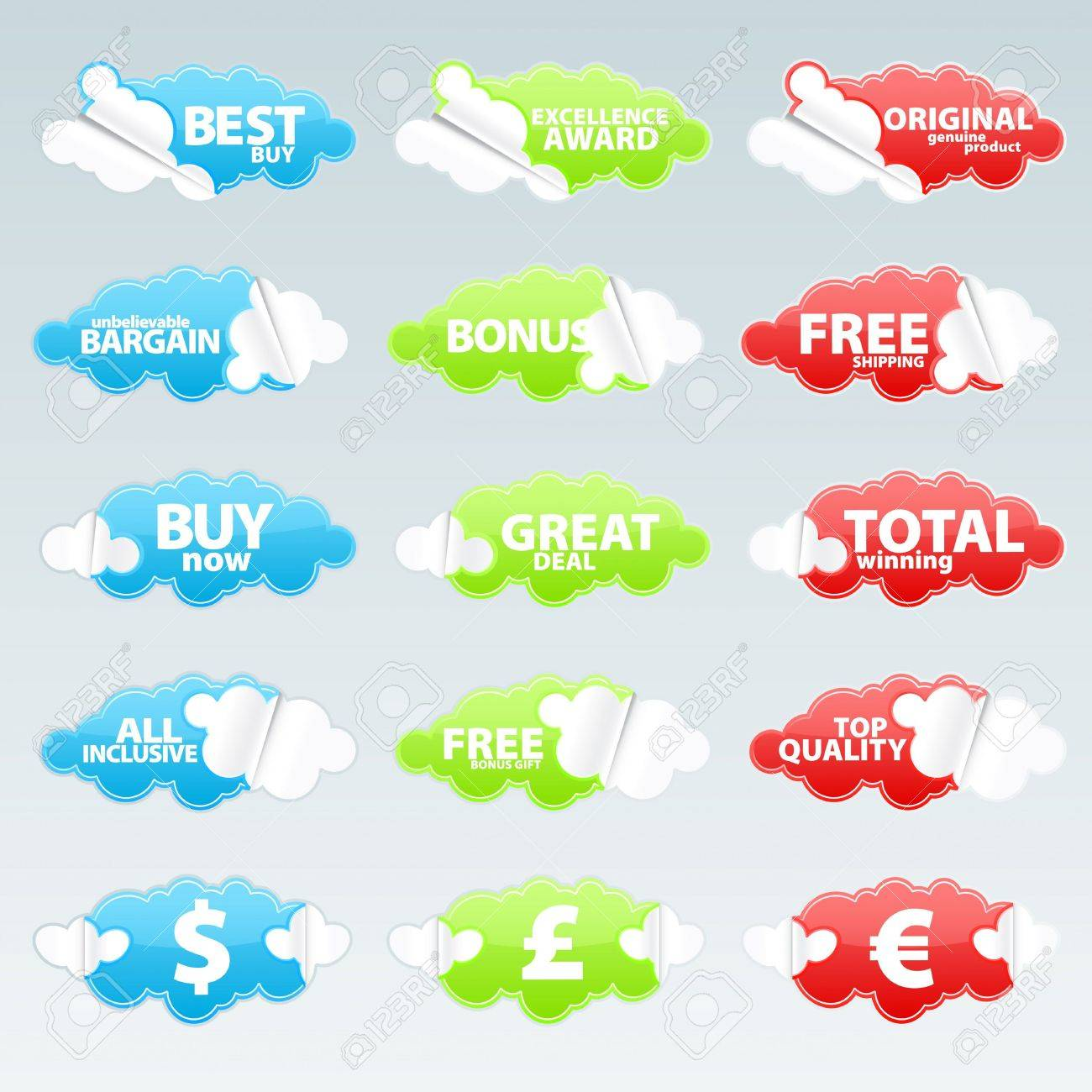 Vector illustration of fifteen cloudy peeling effect business retail stickers with sale theme slogans. - 3471197