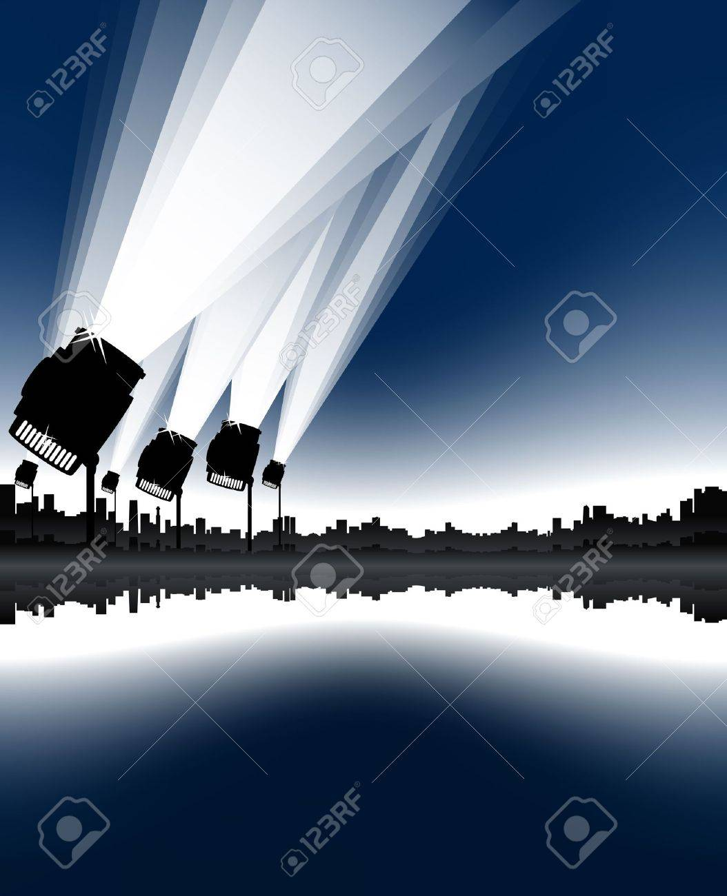 Vector illustration of an urban cityscape and skyline with sea bay and spotlights in the sky. - 3471187
