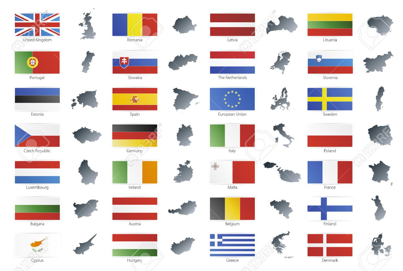 Vector illustration of button flags of the 27 members of the European Union as of 2008 plus NATO and the EU. Coupled with national maps. - 3482364