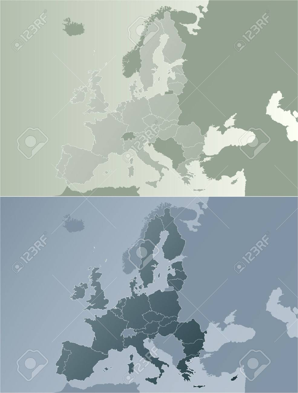 Vector illustration of the European Union map with state borders. Two color variations in modern earth color tones. Stock Vector - 3482376