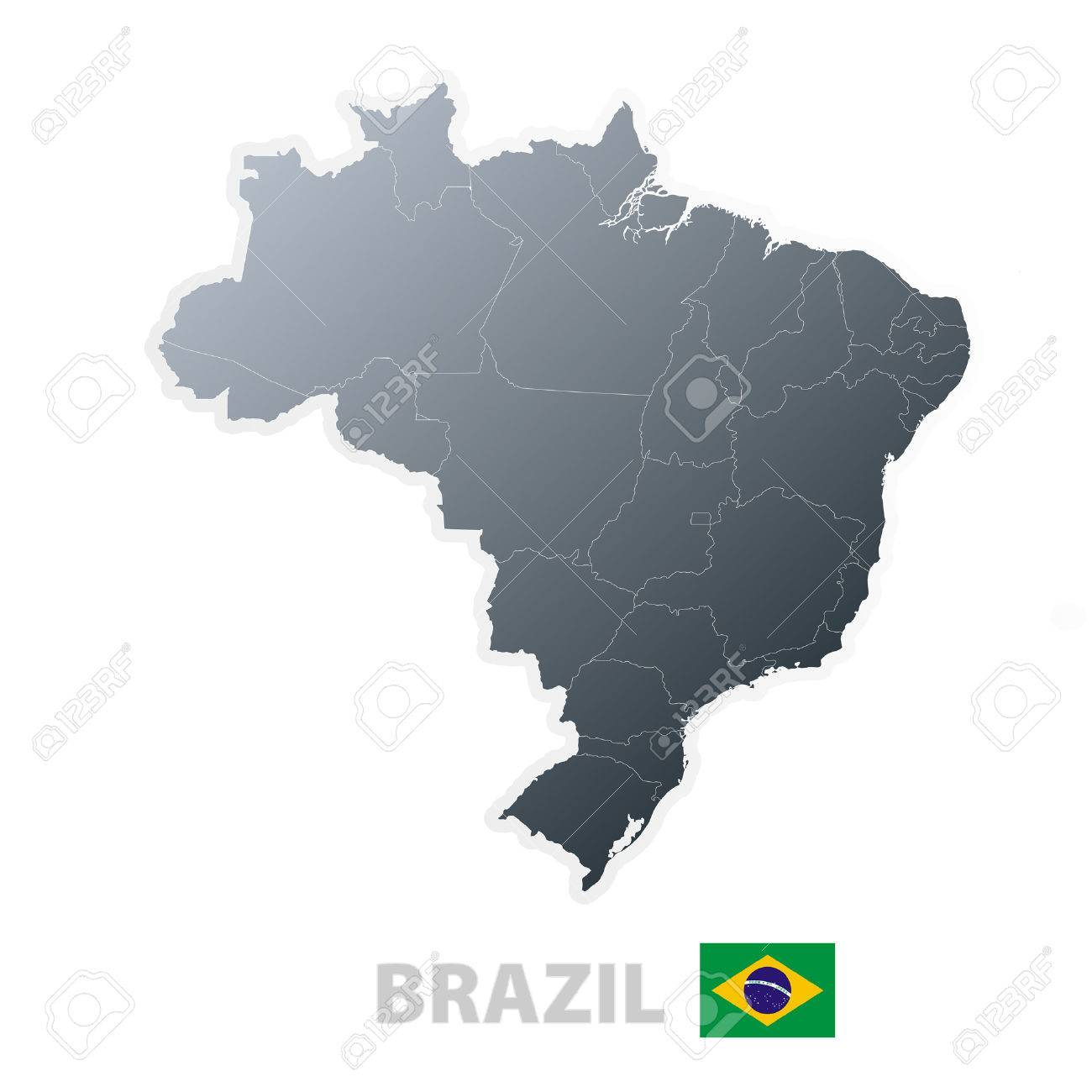 Vector illustration of the map with regions or states and the official flag of Brazil. - 3482369