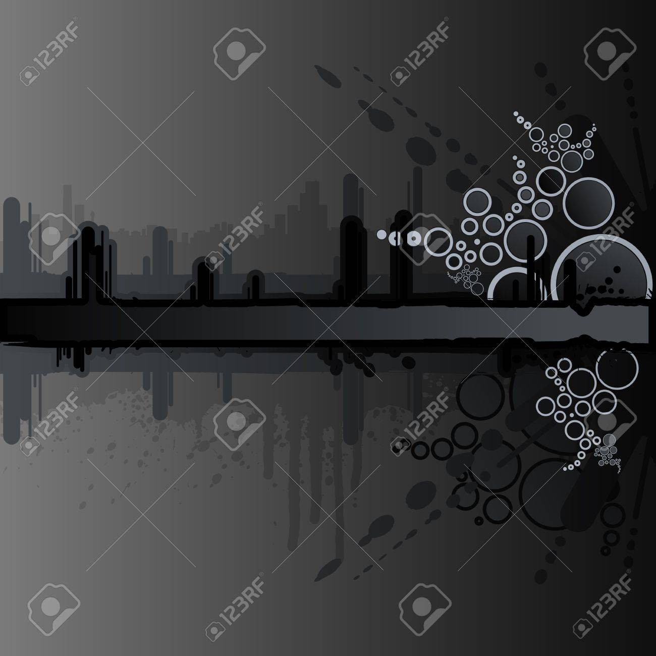 Vector illustration of a grunge and retro dark black background with ink splatter elements, retro circles and drops and stripe for custom text. Urban cityscape backdrop. - 3496502