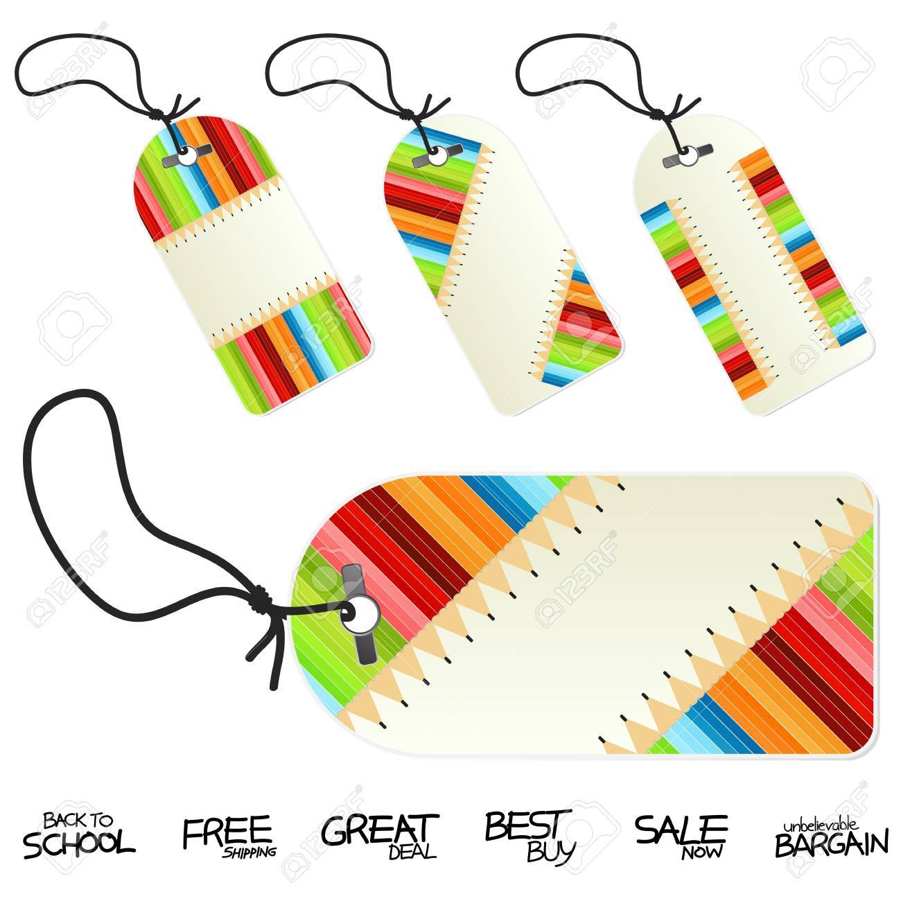 Vector illustration of colorful back to school conceptual retail tags or labels. Four versions. Hand written retail text labels. - 3496506