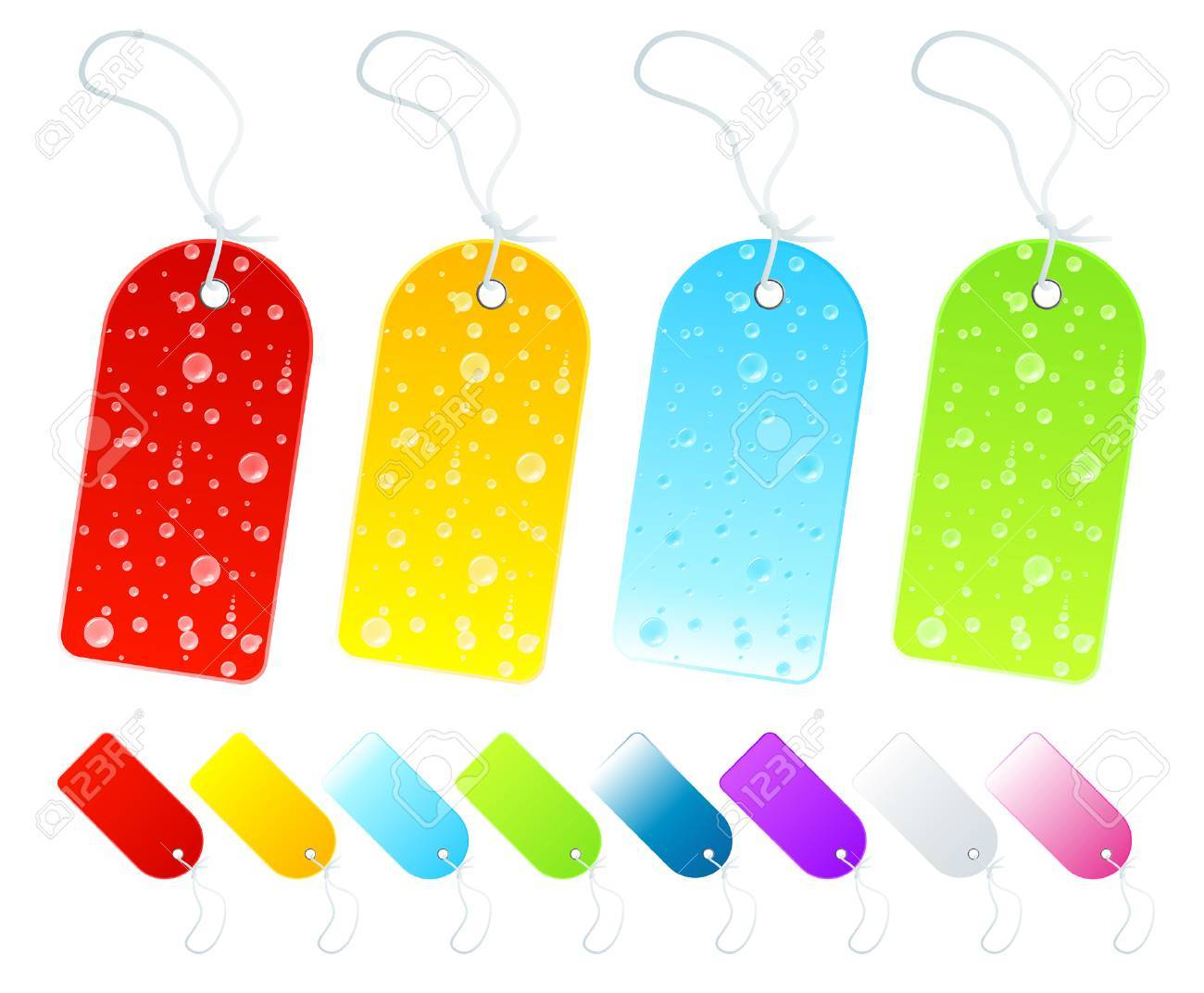 Vector illustration of beautiful season tags and labels in various shiny gradients. Four with wet weather drop details. Stock Vector - 3551590