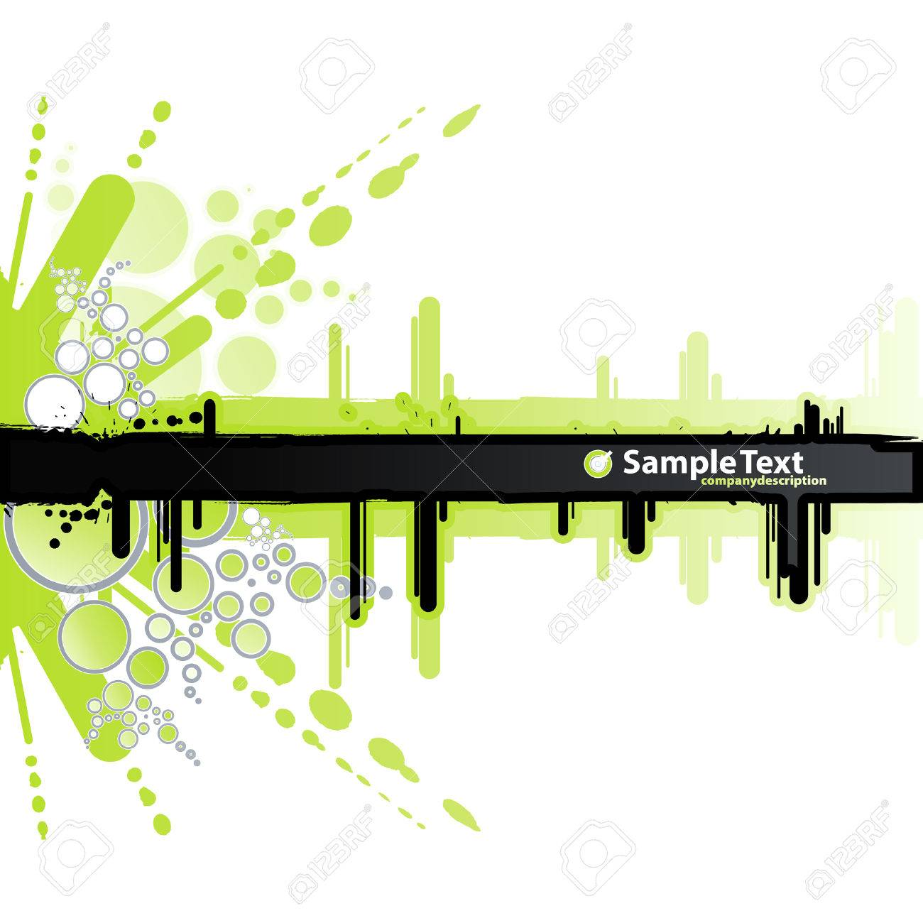Vector illustration of a grunge and retro green and white background with ink splatter elements, retro circles and drops and a black stripe for custom text. - 3551583