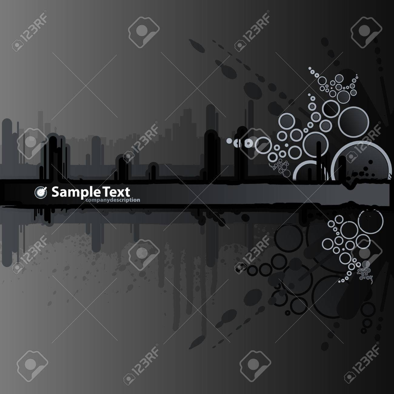 Vector illustration of a grunge and retro dark black background with ink splatter elements, retro circles and drops and stripe for custom text. Urban cityscape backdrop. - 3551587