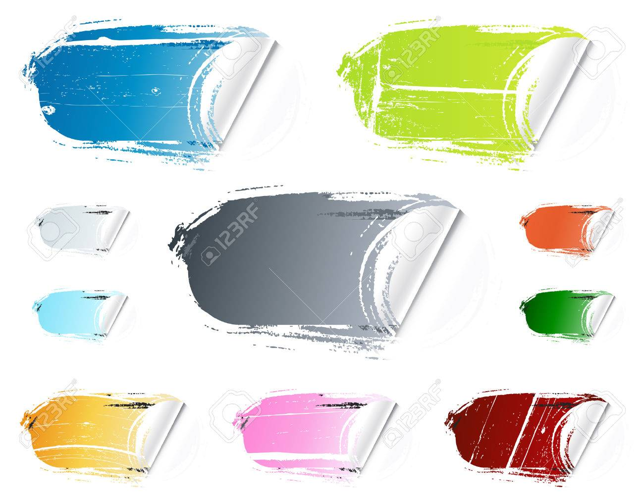 Vector illustration of ten different colorful retail stickers. Washed out, old and grungy. Collection or set. - 3551591
