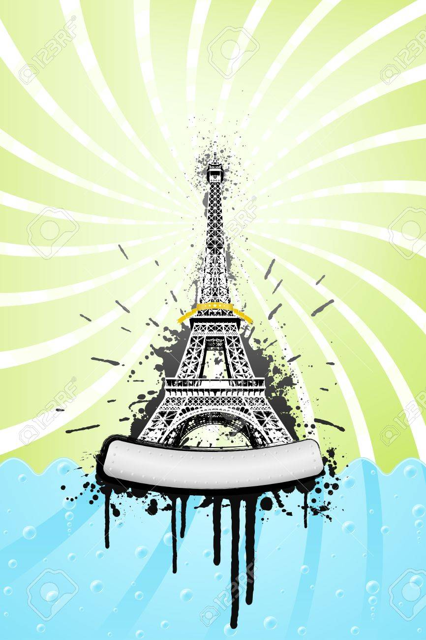 Vector illustration of the Eiffel tower in paris with ink splatter grunge explosions, stylish sea with bubbles and spiral sky. Metal board with bolts for custom design. Stock Photo - 3762158