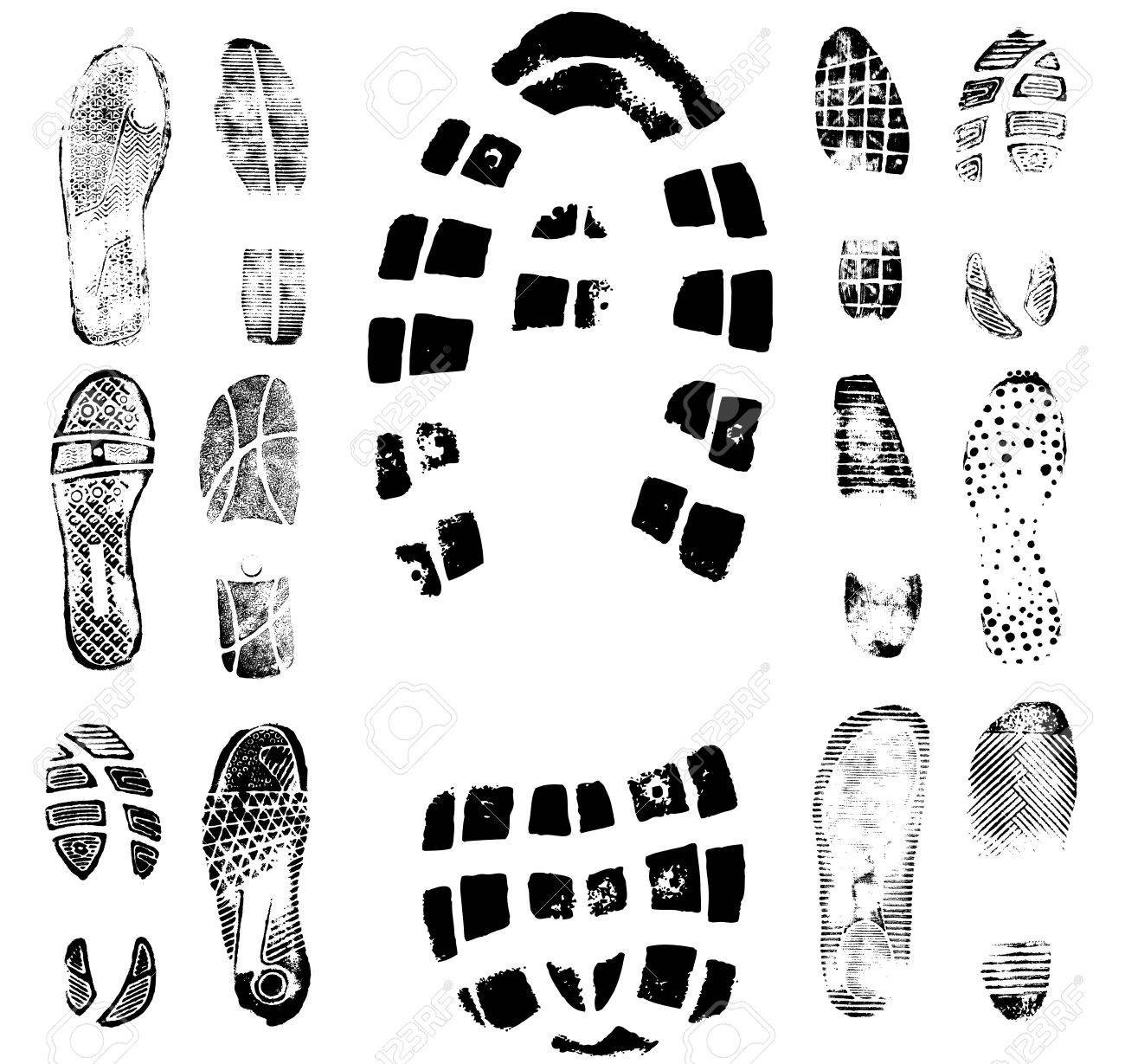 Vector illustration of various footprint shoeprint traces. Collection number 2. - 3797213