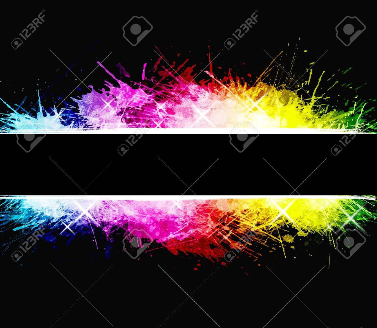 Watercolor aged background with detailed ink splatters. Shiny rainbow colors with celebration stars. Central stripe composition. - 3871940