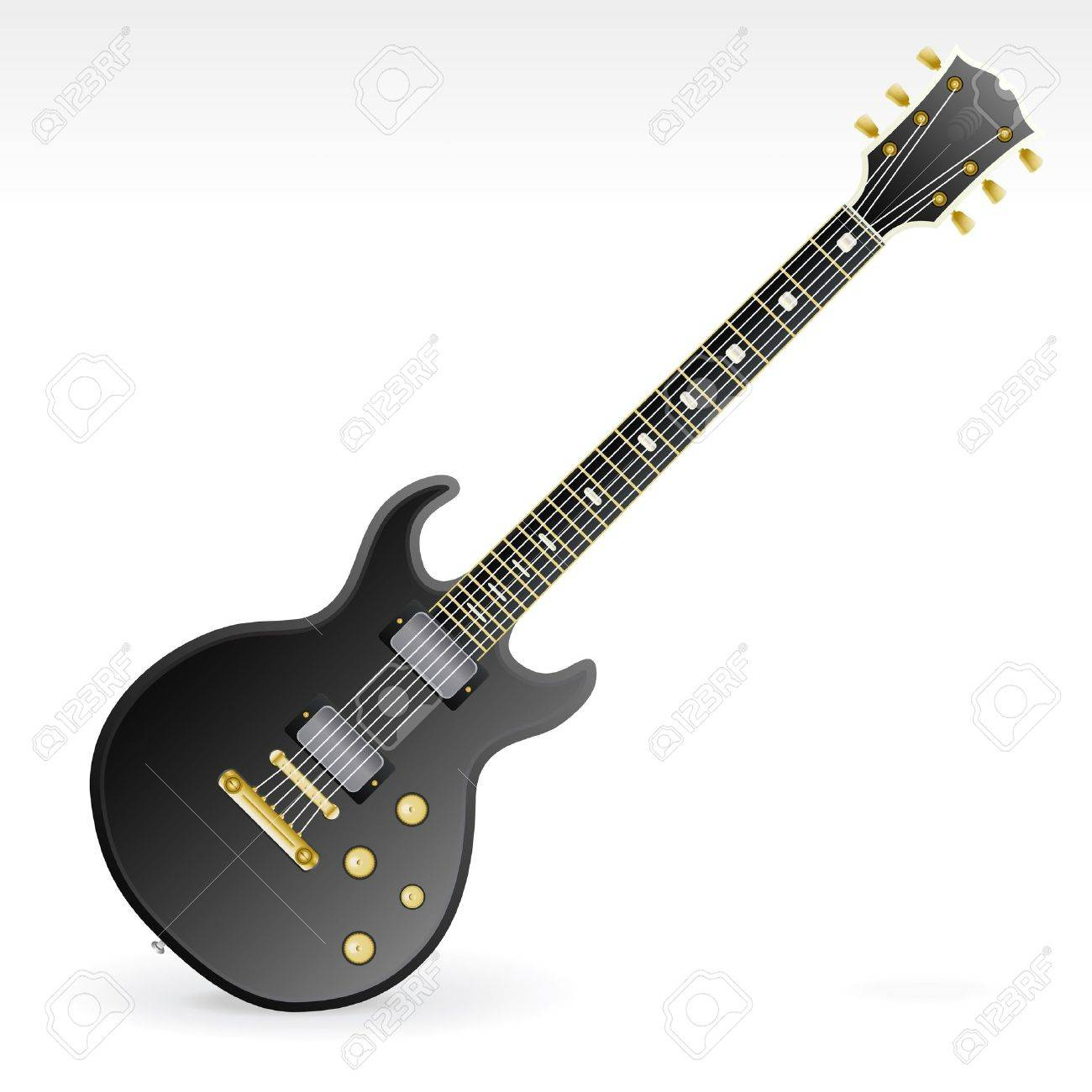 Vector illustration of a highly detailed six string electric rock guitar with gold and silver elements, two magnets and four tone knobs. - 3905568