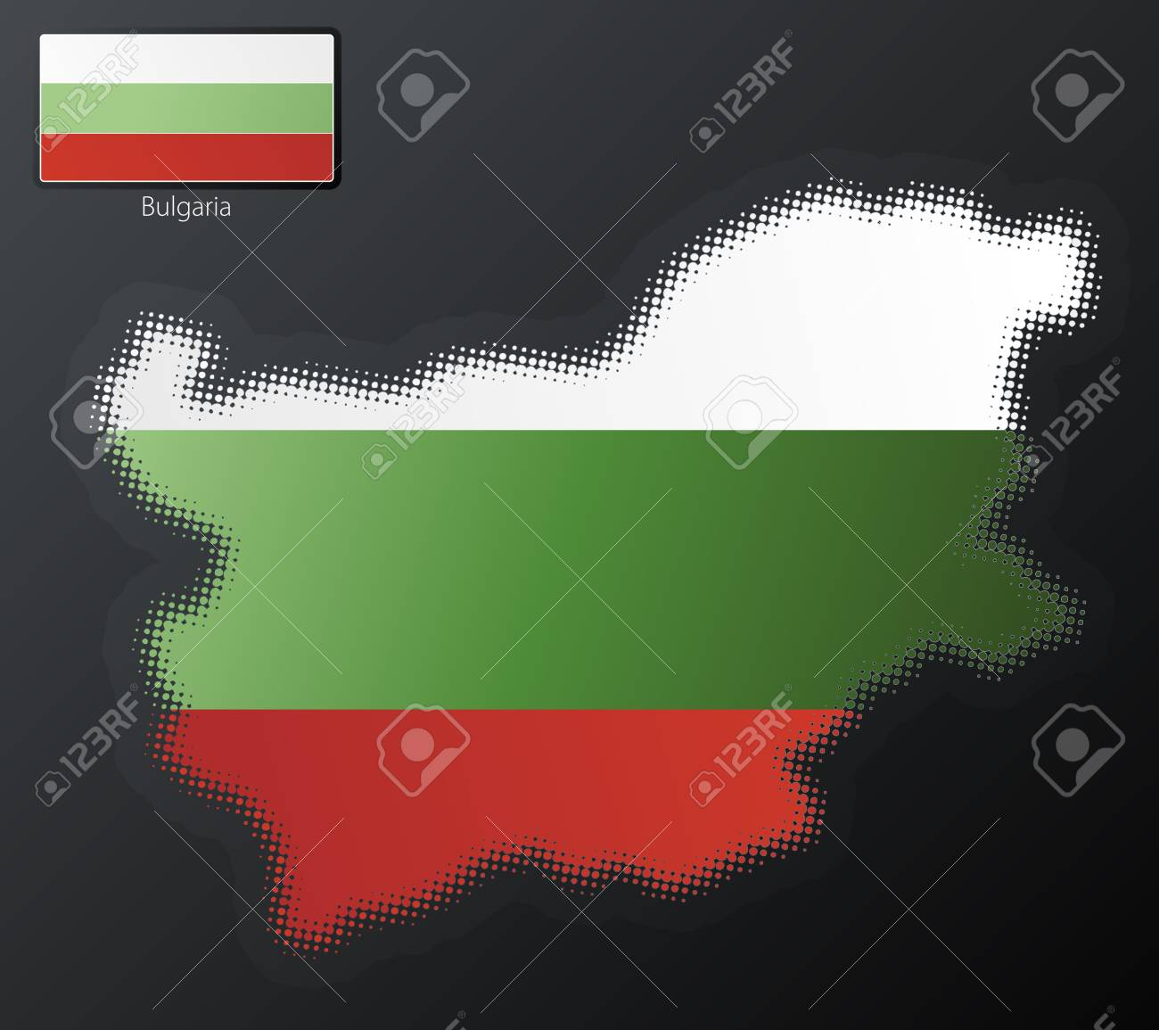 Vector illustration of a modern halftone design element in the shape of Bulgaria, European Union. Second halftone, border and contents, on separate layer. Additional flag included. Stock Photo - 3939826