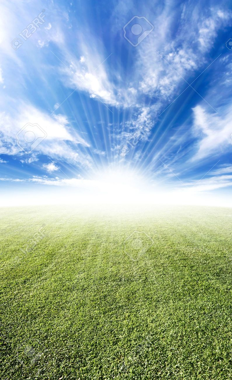 Beautiful sun flare horizon over land meadow photo with bright future concept. - 3939874