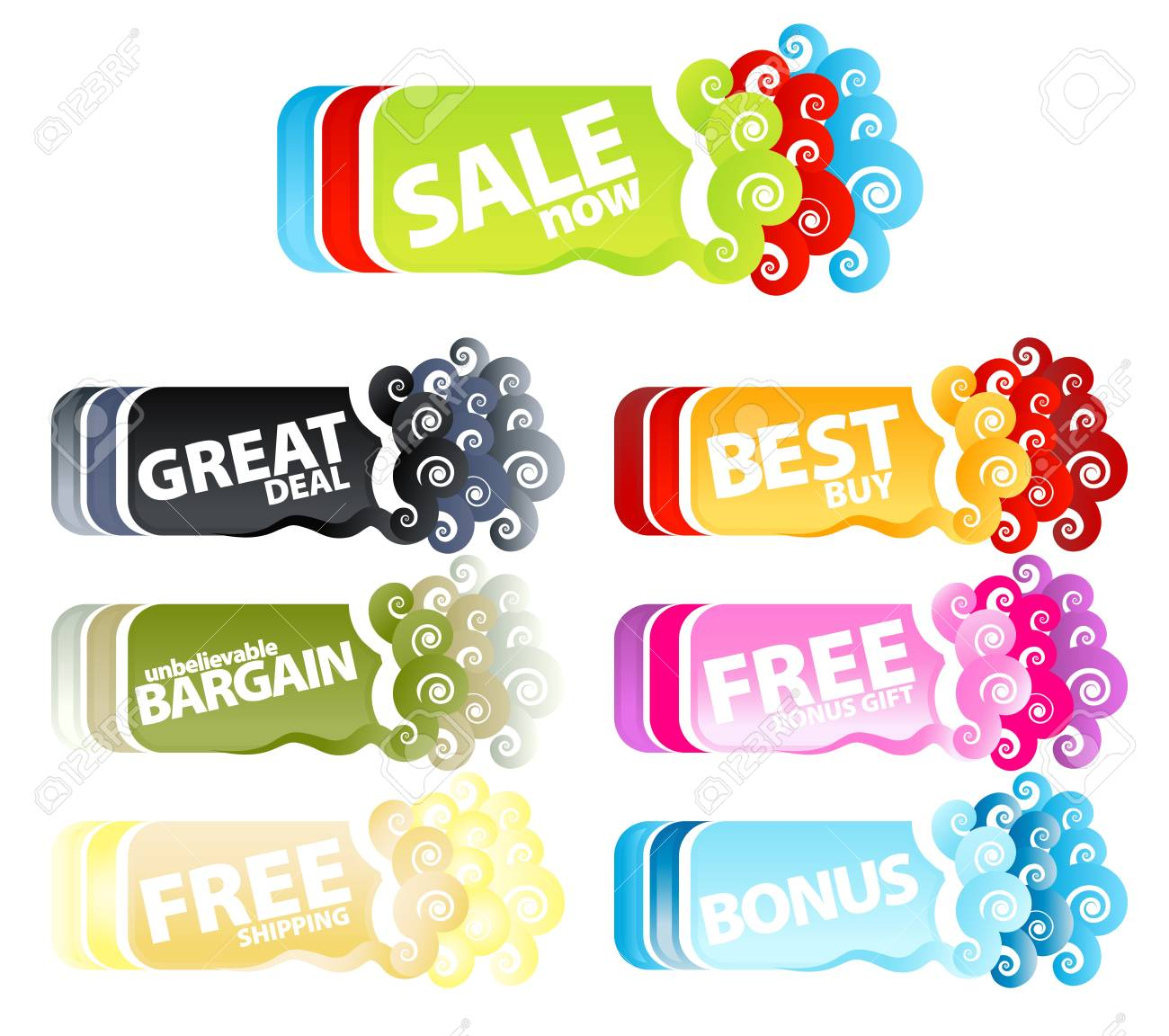 Vector illustration of a colorful collection of funky swirly retail tags or banners. - 3983646