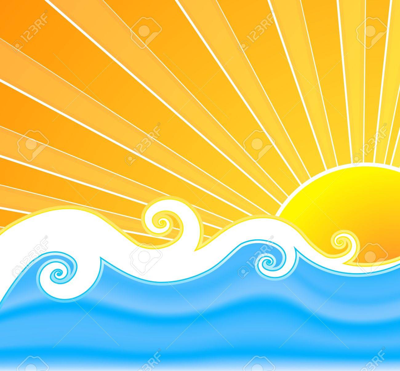 Vector illustration of a swirly retro summer background with beautiful sun rays, curly mesh water and wavy design in the middle. - 4036014