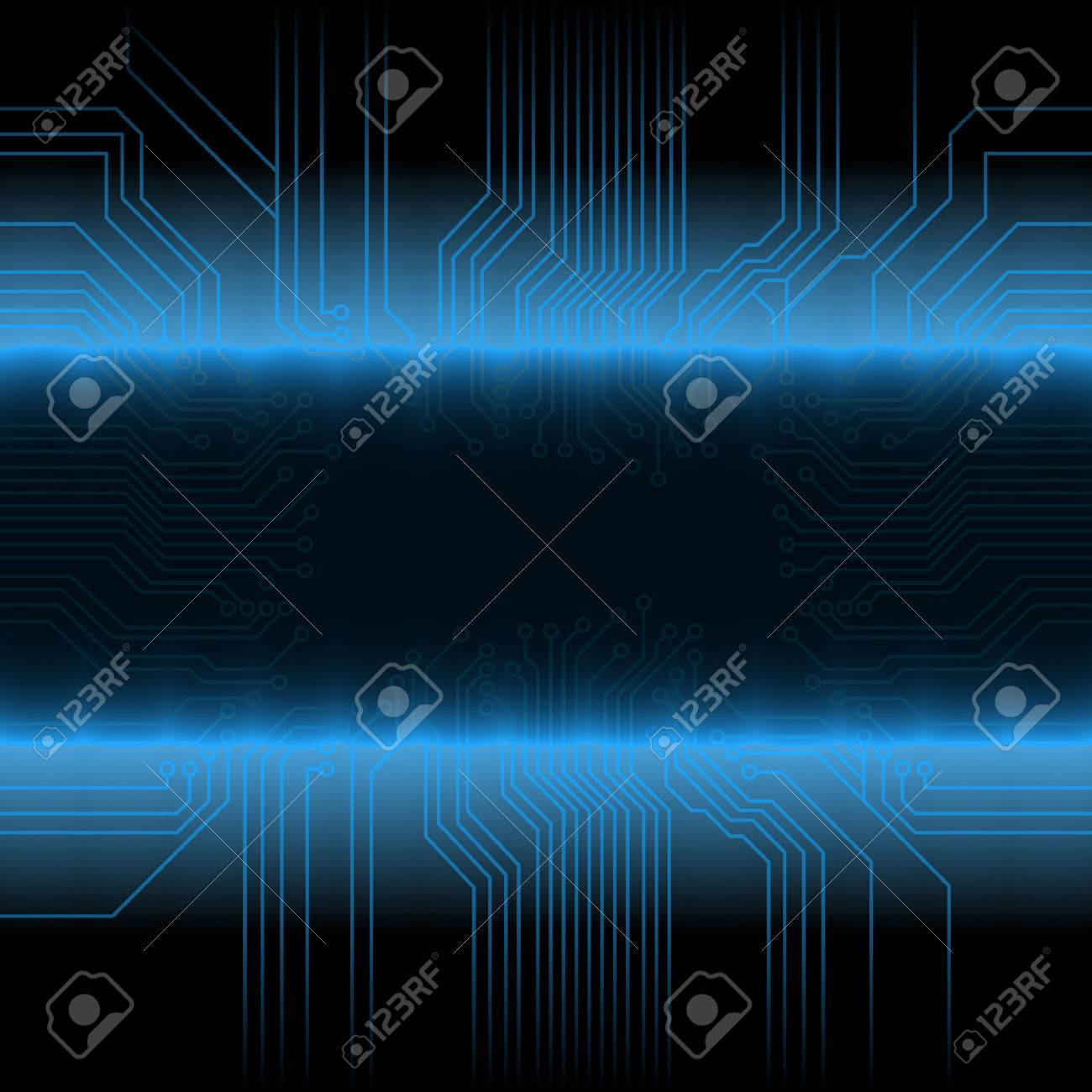Vector illustration of a glowing circuitry board design with central frame for custom elements. Detailed gradient fading. - 4039132