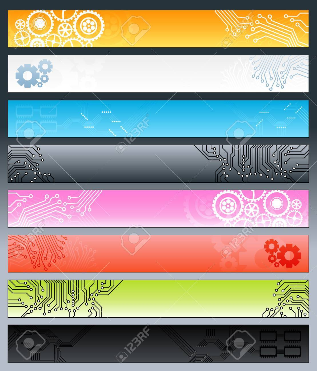 Vector illustration of a collection of eight technological web banners with circuitry patters and gearwork design elements. Stock Vector - 4039142
