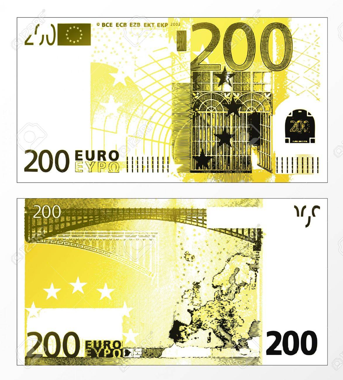 Vector illustration of a cleaned trace layered double sided European Union banknote of 200 Euros. - 4045981