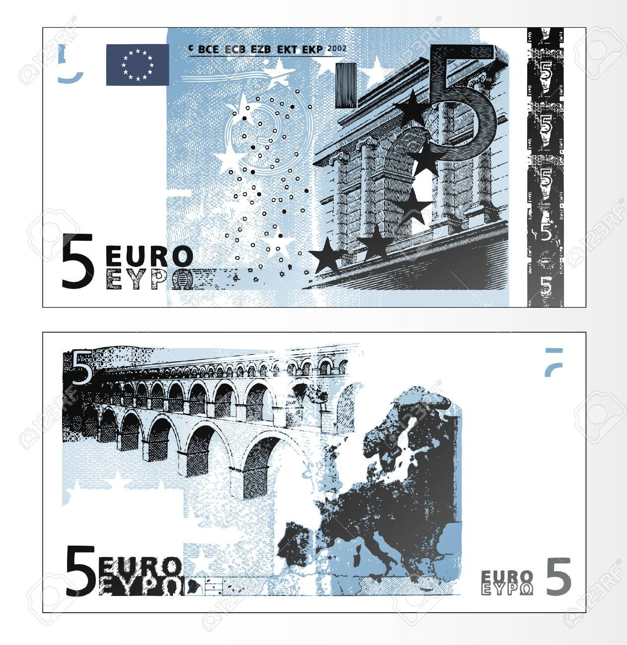 Vector illustration of a cleaned trace layered double sided European Union banknote of 5 Euros. - 4045970