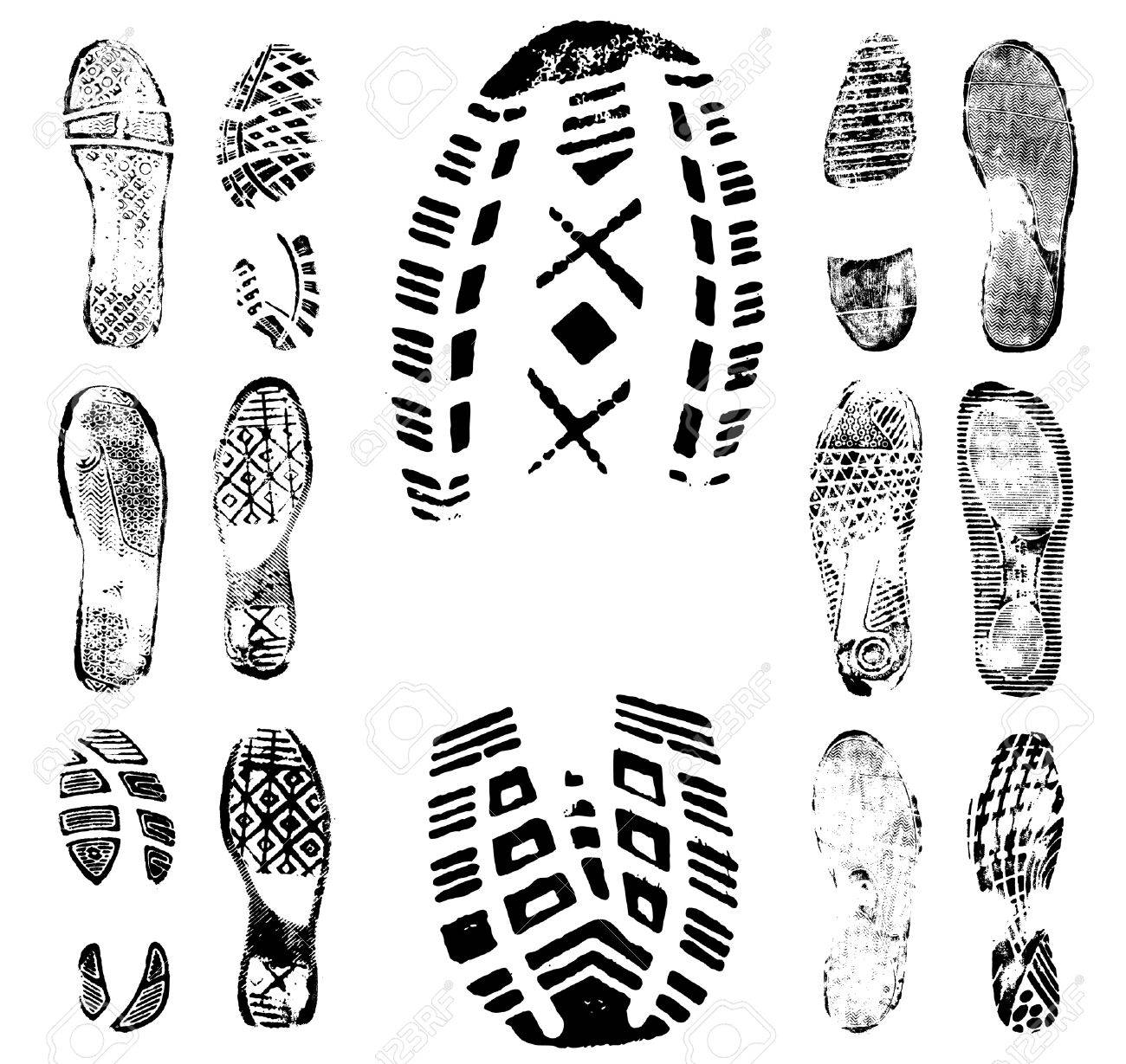 Vector illustration of various footprint shoeprint traces. Collection number 1. - 4045979