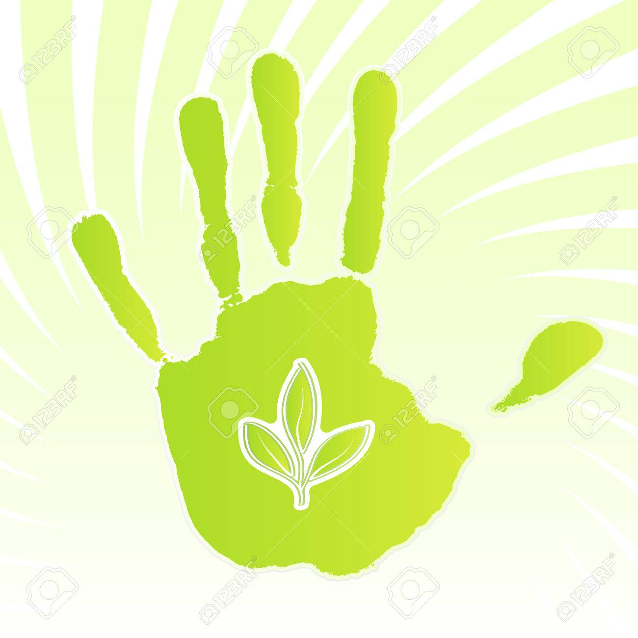Vector illustration of a green ecology design handprint with swirly background and leaf icon. - 4045918