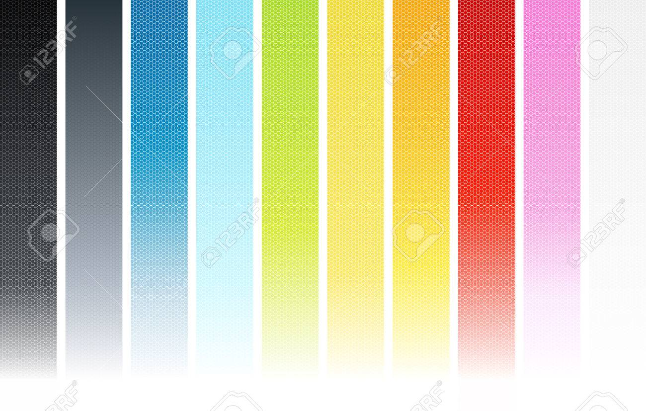 Vector illustration of ten colorful vertical hexagonal wallpaper elements. Individual columns seamless cut ideal for website background. - 4045972