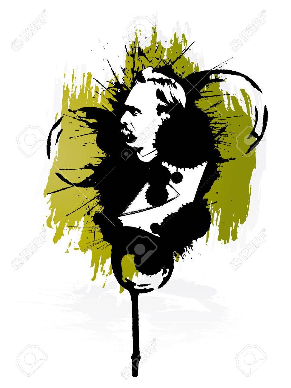 Vector illustration of the German philosopher Friedrich Nietzsche in grunge retro splatter style. Design element. - 4074174