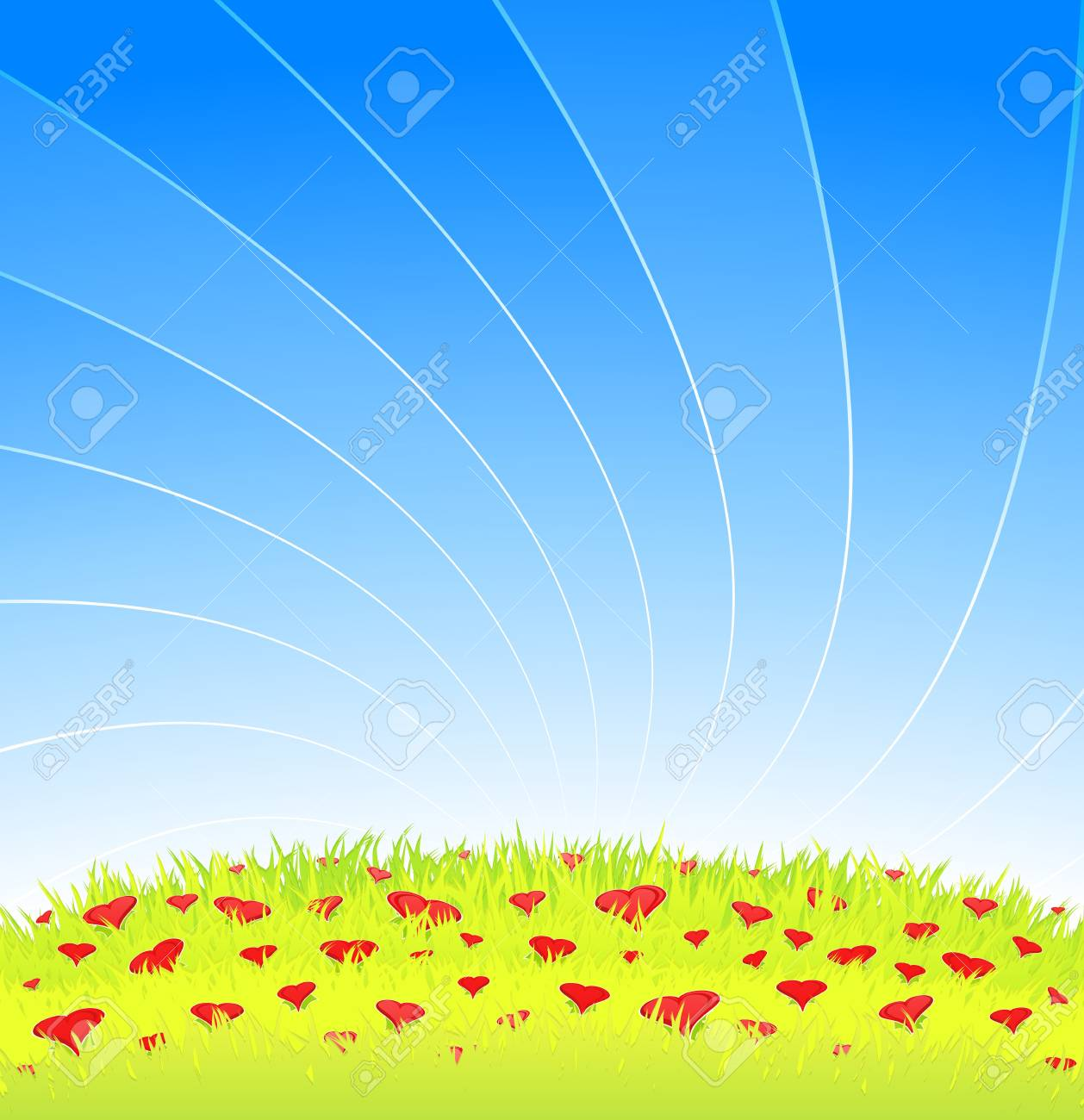 Vector illustration of a beautiful romantic meadow with blue lined sky and detailed grass full of lovely heart flowers. Copy space for custom text. Stock Illustration - 4133419