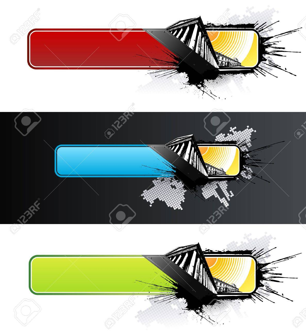 illustration of three differently colored historic urban grunge splatter banners with world map squared art background. Stock Vector - 6953178