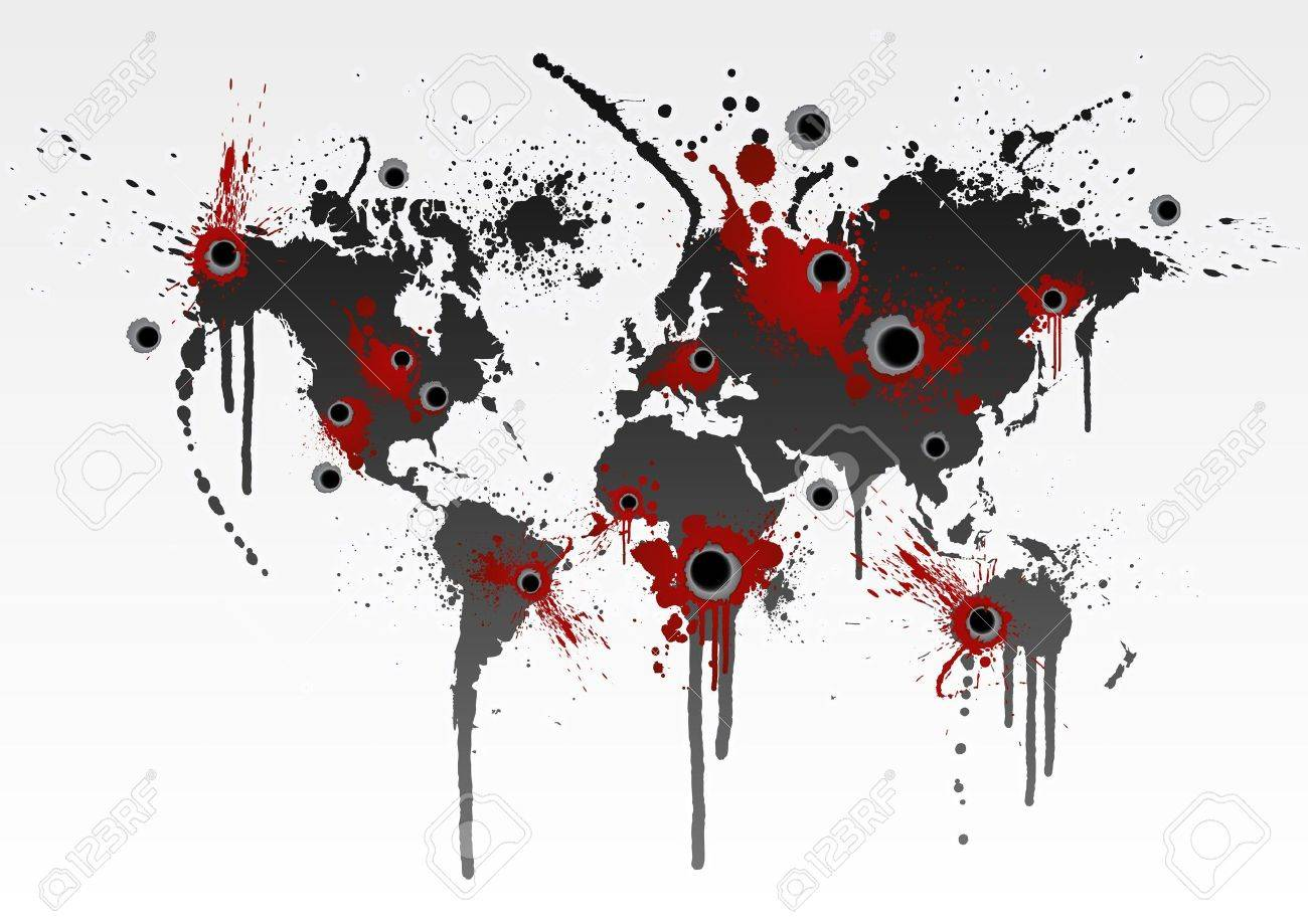 Illustration of a grunge world map splatter with gunshot wounds illustration of a grunge world map splatter with gunshot wounds globalization business or ecological catastrophe gumiabroncs Image collections