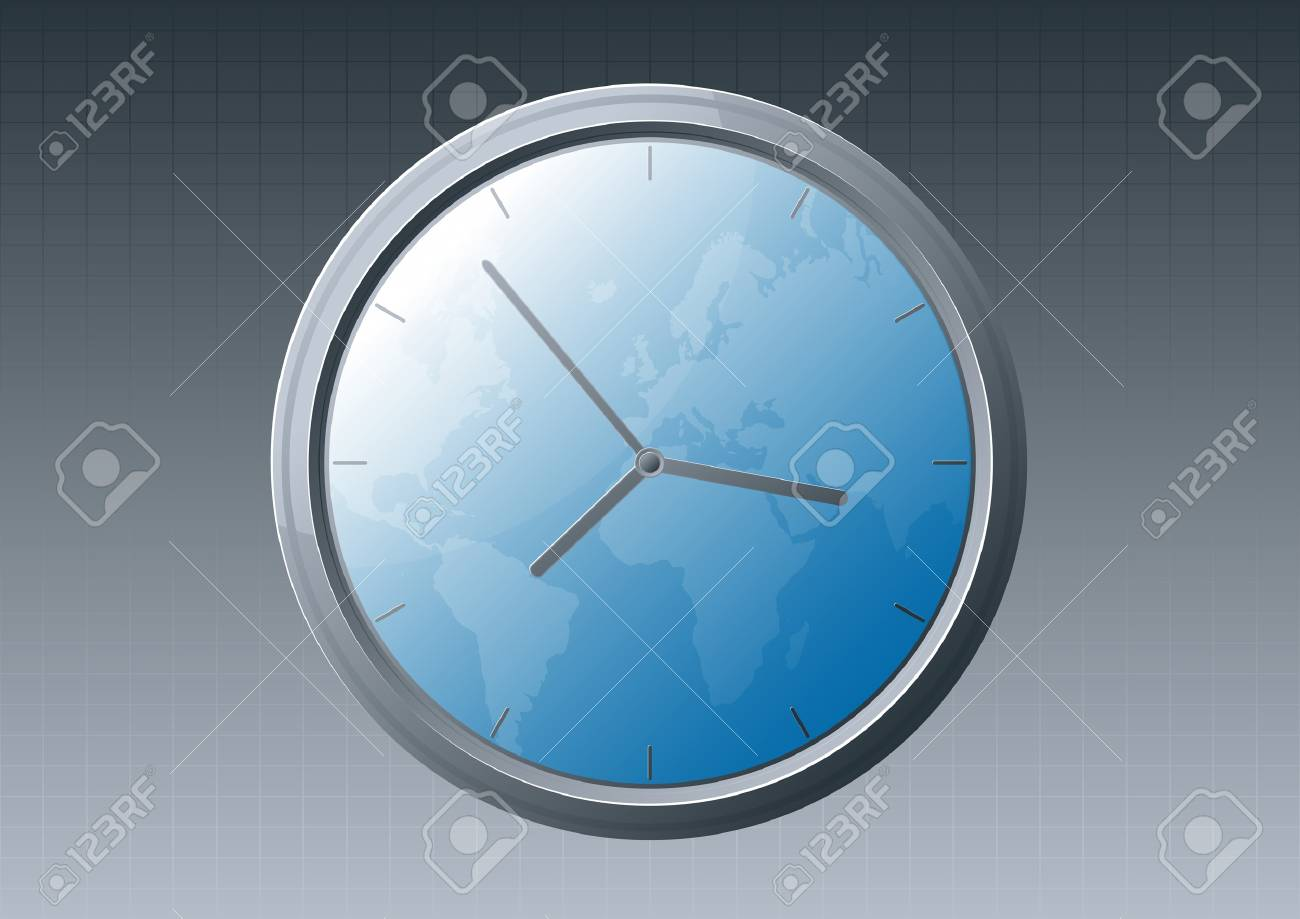 illustration of a glossy glass clock with world map background. Stock Vector - 6953119