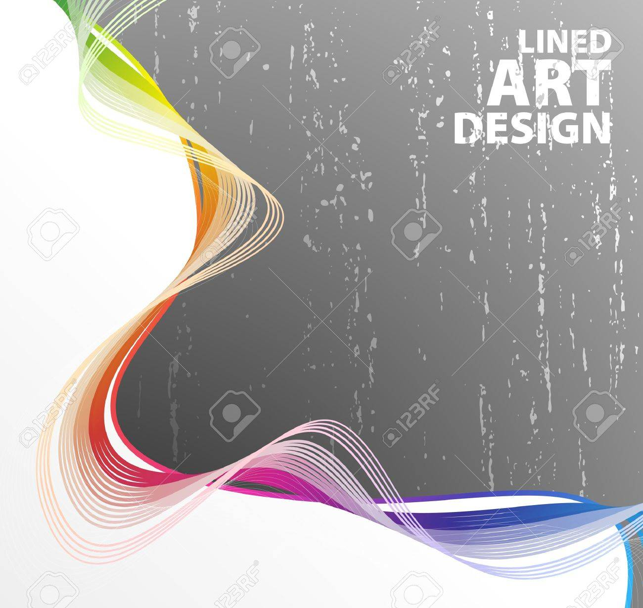 illustration of a retro lined art rainbow flow on a textured gray gradient wall. - 6953138
