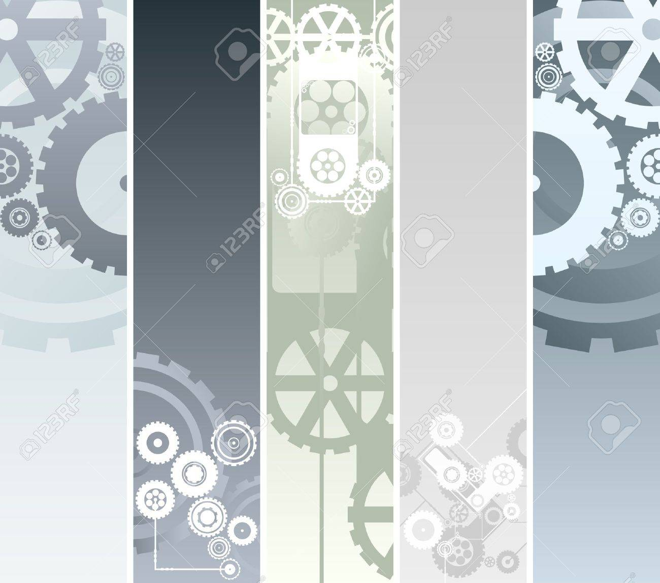illustration of five vertical or horizontal banners with technological and mechanical pattern. Gearwork and cogs. - 6953153