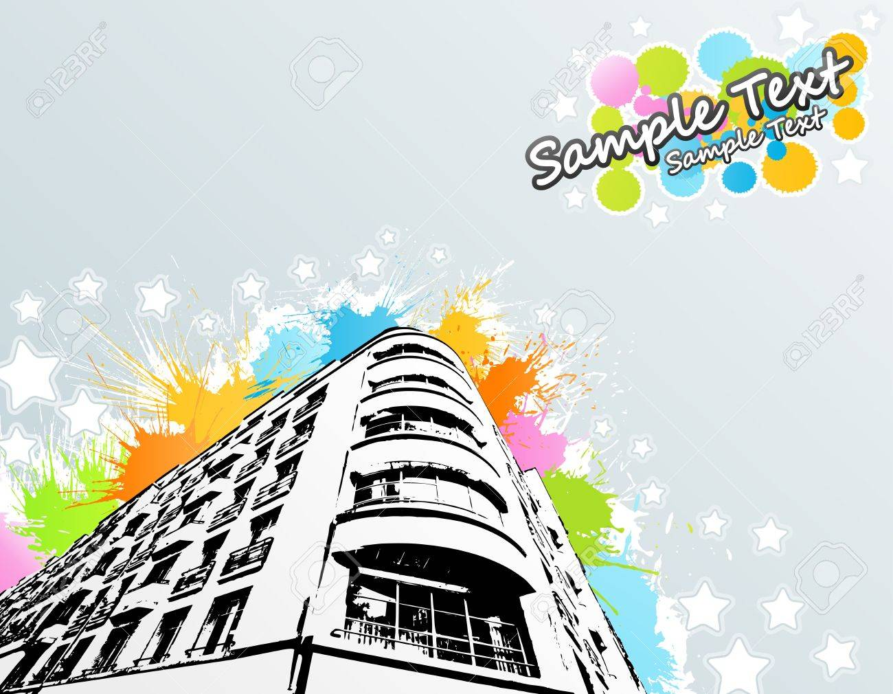 illustration of a roughly traced modern building with colorful splatter elements in the background with cheerful stars and lined art. Sample text in the corner. Stock Vector - 6953218
