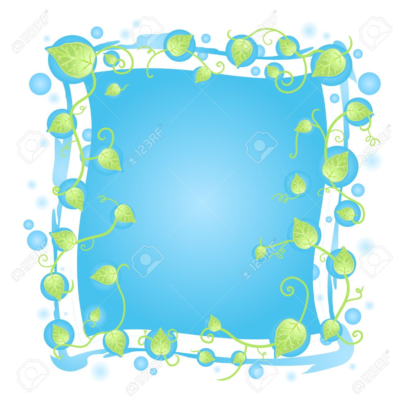 illustration of a fresh floral frame design with leaf vines border, blurred blue drops and funky details around the banner. Stock Vector - 6953223