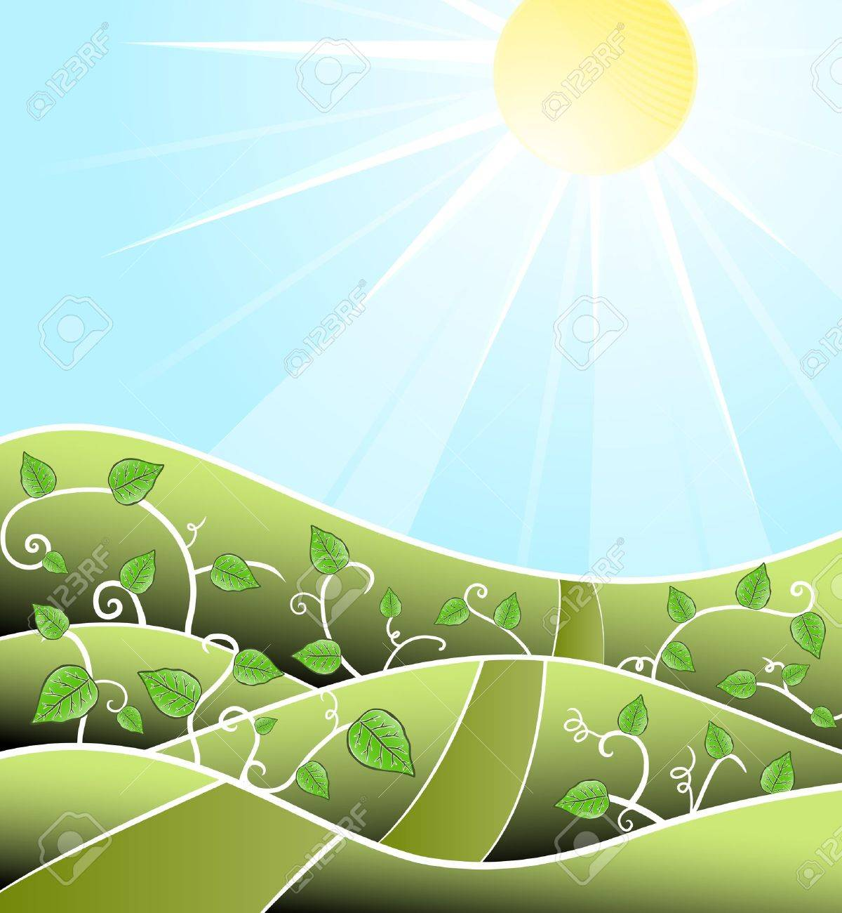 illustration of a stylized sunny day scenery with floral swirly vines and road leading towards the horizon. - 6953221
