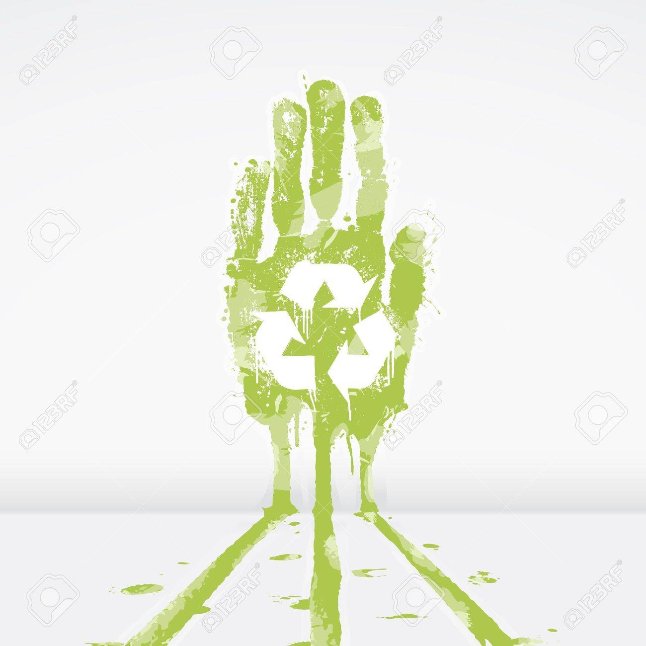 illustration of an ecological concept with a hand splatter leaking dye down a wall. Recycling symbol in the middle. - 6953225