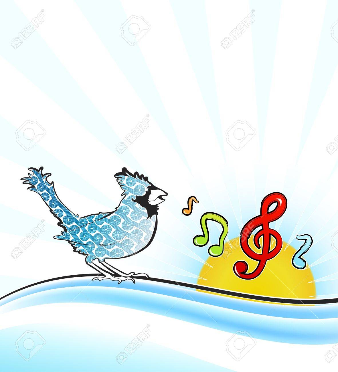 illustration of a beautiful patterned singing bird tweeting musical notes on a gradient wave decorating a sunny background design. Stock Vector - 6953227