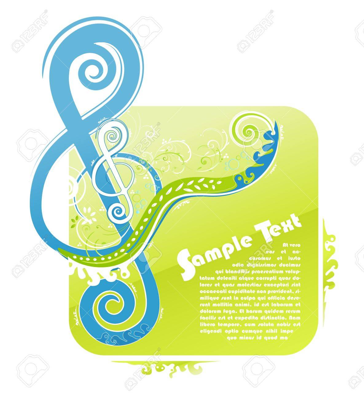 illustration of a violin key modern trendy floral design with funky swirls and curls and peaceful natural colors. With sample text for lorem ipsum placement. - 6953214