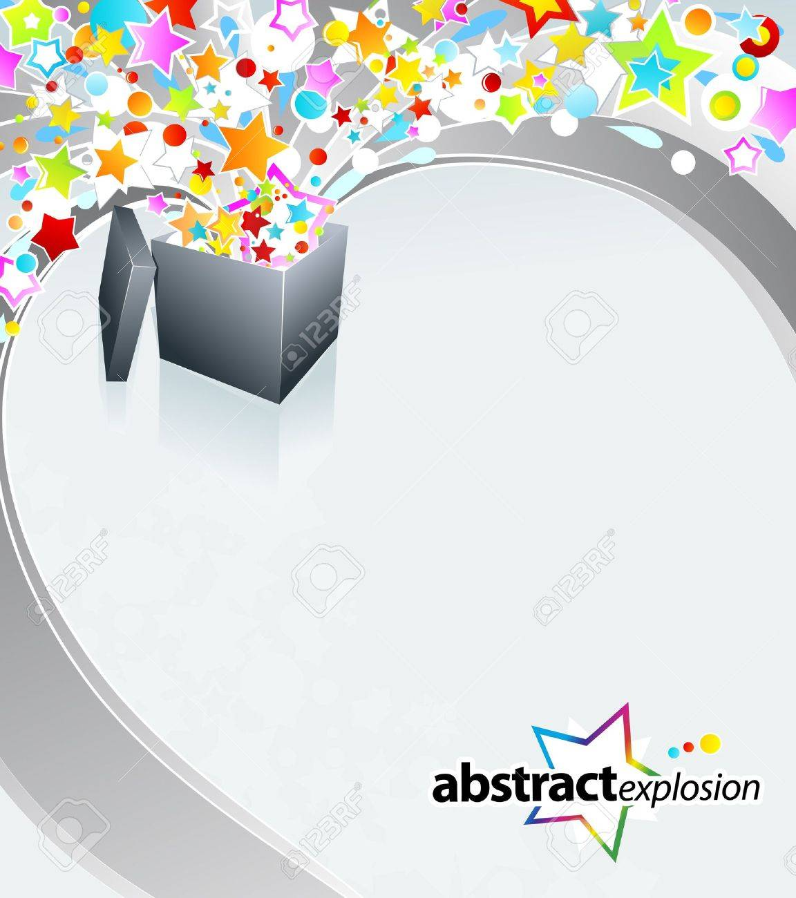 illustration of a surprise gift box exploding into a flow of rainbow stars and bubbles. - 6953266