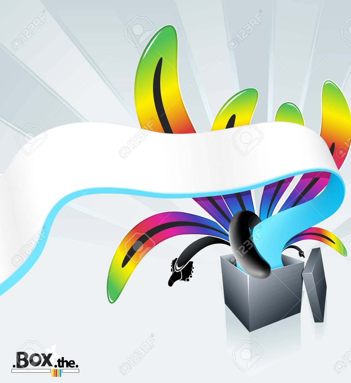 illustration of a beautiful magic box exploding into flows of colorful stripes. Stock Photo - 6953270